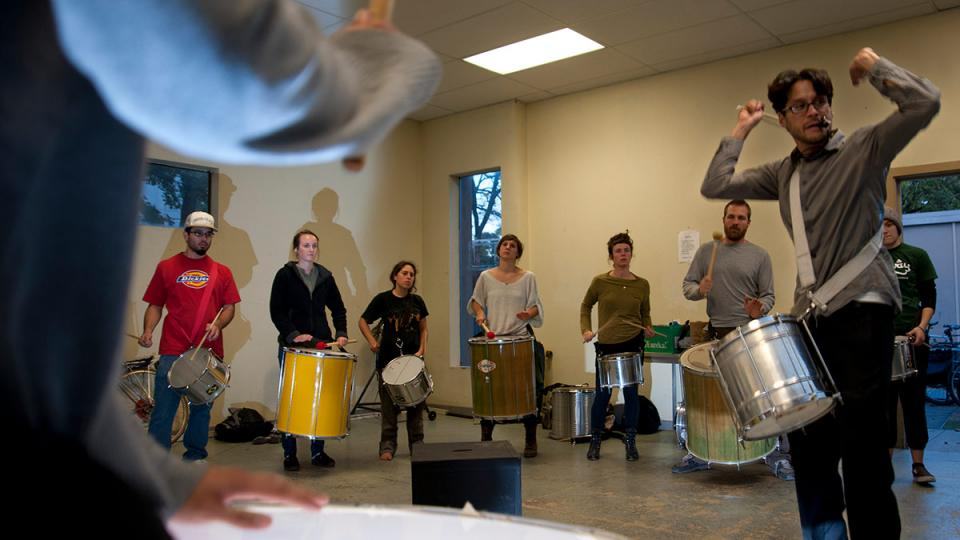 Students in a Brazilian samba class